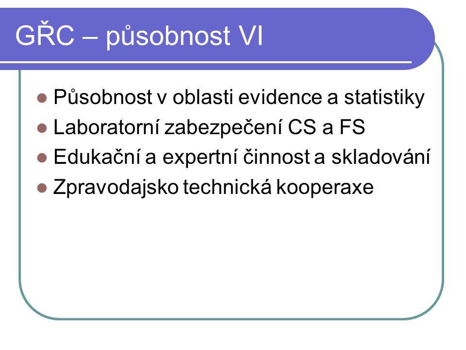 GŘC – působnost VI Působnost v oblasti evidence a statistiky Laboratorní zabezpečení CS a FS Edukační a expertní činnost a skladování Zpravodajsko tec