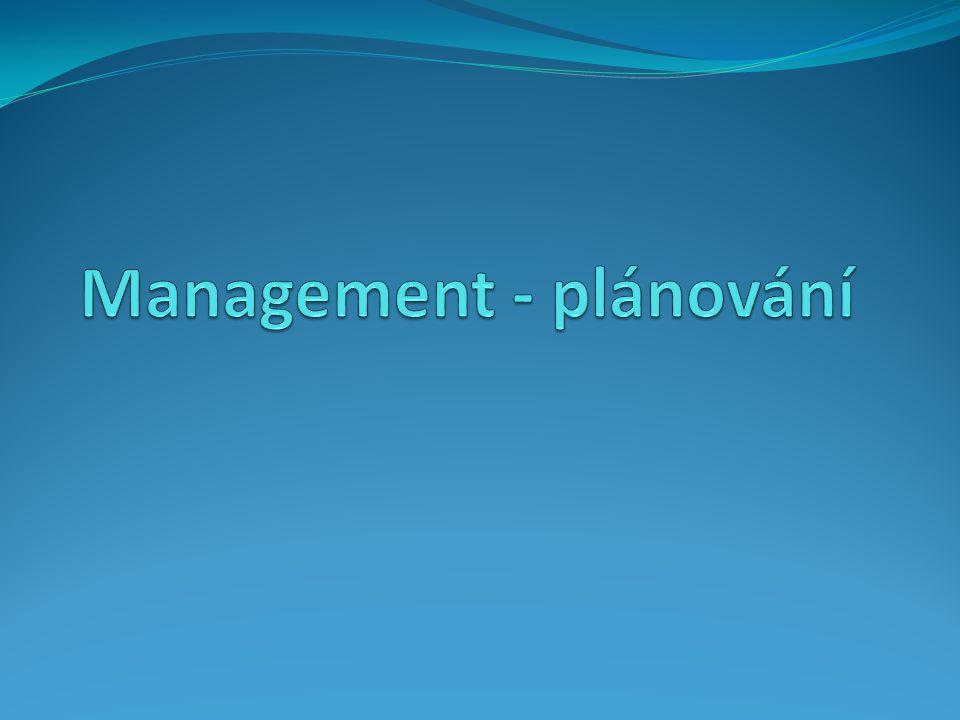 Plánování jako manažerská funkce Plánování je jednou z hlavních činností manažera Smyslem plánování je stanovení cílů organizace v čase a vymezení postupů jak těchto cílů dosáhnout.