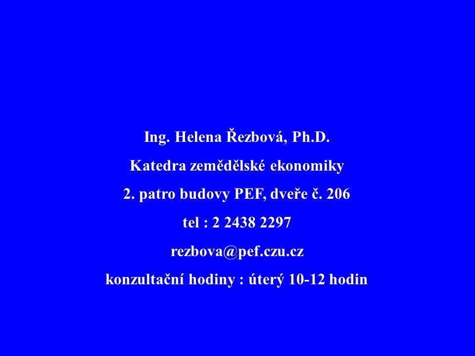 Ing. Helena Řezbová, Ph.D. Katedra zemědělské ekonomiky 2. patro budovy PEF, dveře č. 206 tel : 2 2438 2297 rezbova@pef.czu.cz konzultační hodiny : út