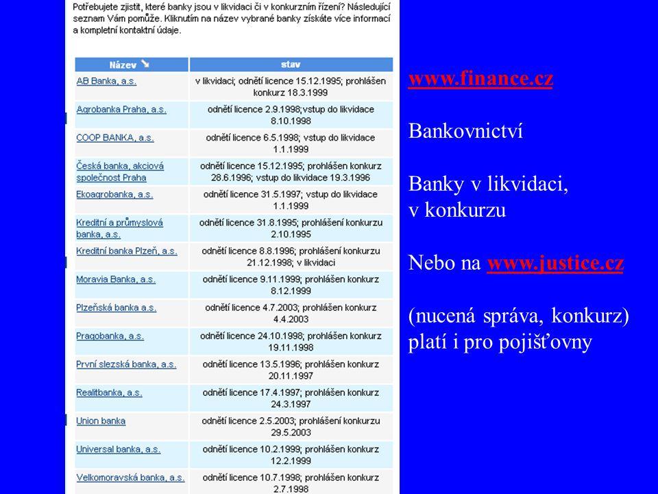 www.finance.cz Bankovnictví Banky v likvidaci, v konkurzu Nebo na www.justice.czwww.justice.cz (nucená správa, konkurz) platí i pro pojišťovny