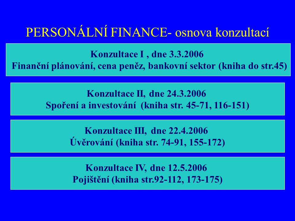 PERSONÁLNÍ FINANCE- osnova konzultací Konzultace I, dne 3.3.2006 Finanční plánování, cena peněz, bankovní sektor (kniha do str.45) Konzultace II, dne