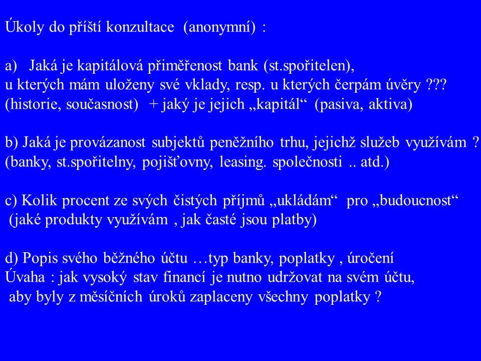 Úkoly do příští konzultace (anonymní) : a)Jaká je kapitálová přiměřenost bank (st.spořitelen), u kterých mám uloženy své vklady, resp. u kterých čerpá