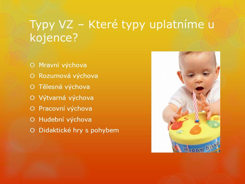 Typy VZ – Které typy uplatníme u kojence?  Mravní výchova  Rozumová výchova  Tělesná výchova  Výtvarná výchova  Pracovní výchova  Hudební výchov