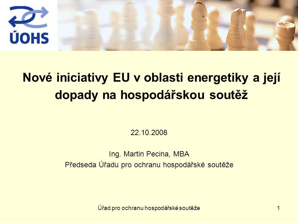 Nové iniciativy EU v oblasti energetiky a její dopady na hospodářskou soutěž 22.10.2008 Ing.