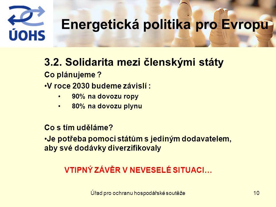 Energetická politika pro Evropu 3.2. Solidarita mezi členskými státy Co plánujeme .