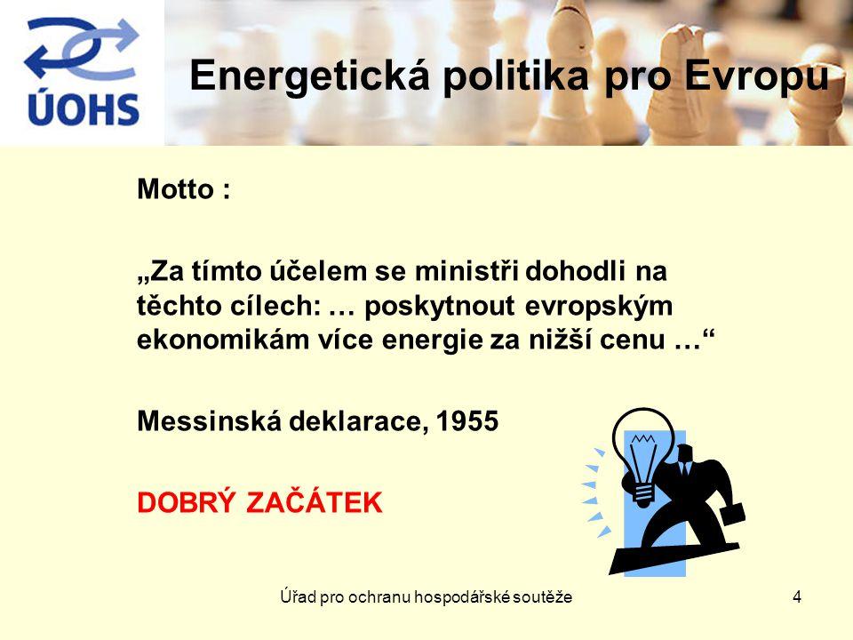 """Energetická politika pro Evropu Motto : """"Za tímto účelem se ministři dohodli na těchto cílech: … poskytnout evropským ekonomikám více energie za nižší cenu … Messinská deklarace, 1955 DOBRÝ ZAČÁTEK 4Úřad pro ochranu hospodářské soutěže"""
