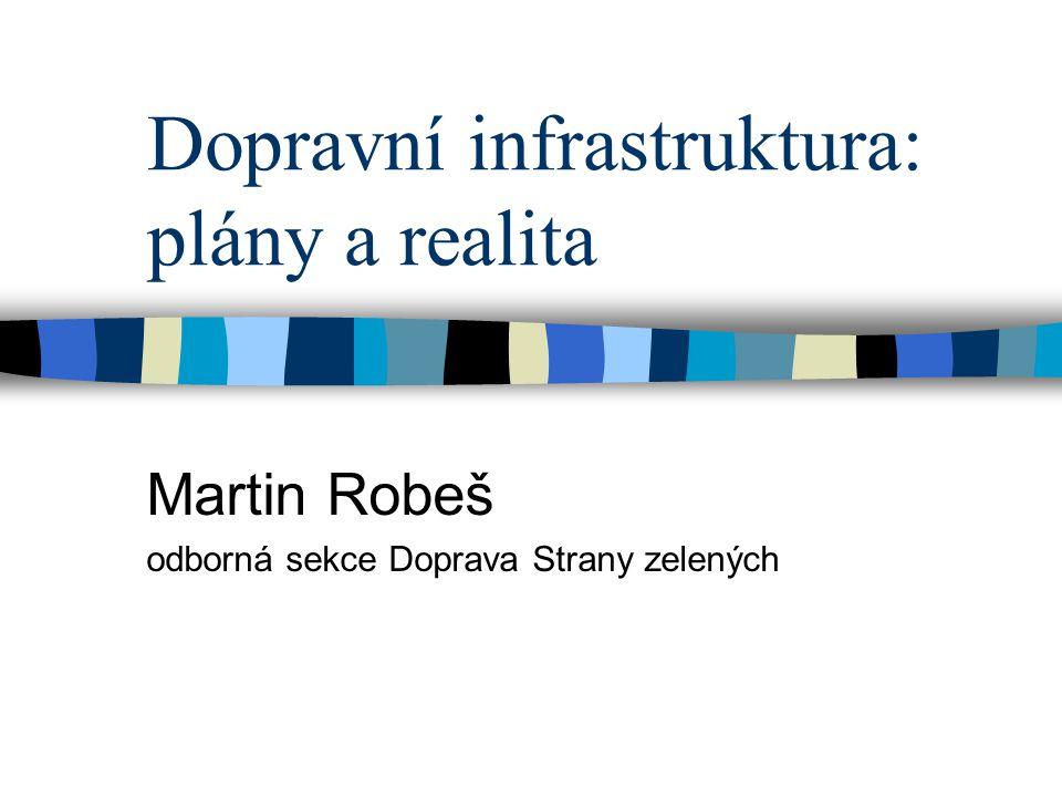 Dopravní infrastruktura: plány a realita Martin Robeš odborná sekce Doprava Strany zelených