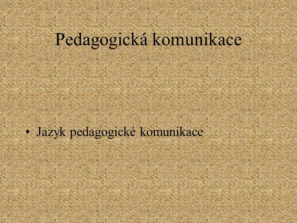 Pedagogická komunikace Jazyk pedagogické komunikace