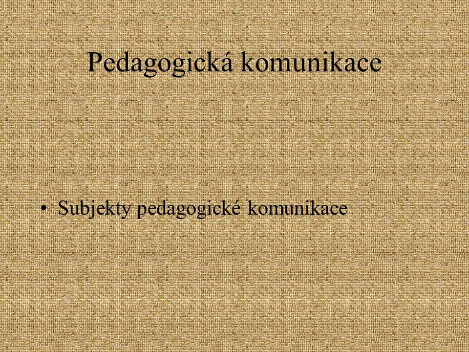 Pedagogická komunikace Subjekty pedagogické komunikace