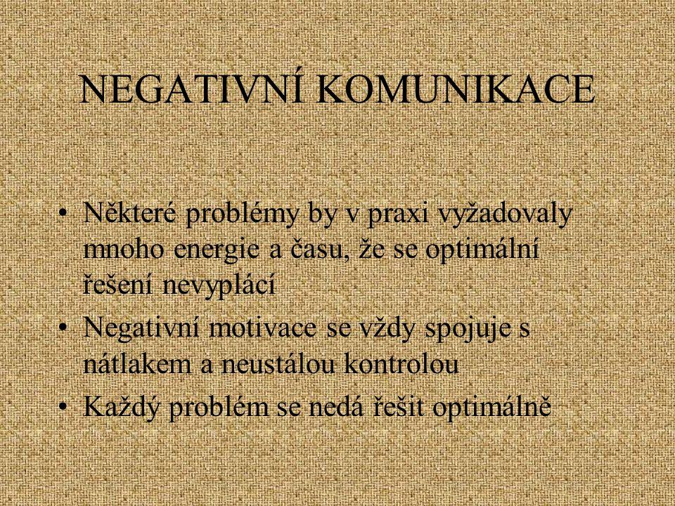 NEGATIVNÍ KOMUNIKACE Některé problémy by v praxi vyžadovaly mnoho energie a času, že se optimální řešení nevyplácí Negativní motivace se vždy spojuje