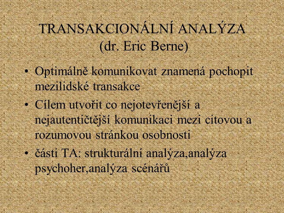 TRANSAKCIONÁLNÍ ANALÝZA (dr. Eric Berne) Optimálně komunikovat znamená pochopit mezilidské transakce Cílem utvořit co nejotevřenější a nejautentičtějš