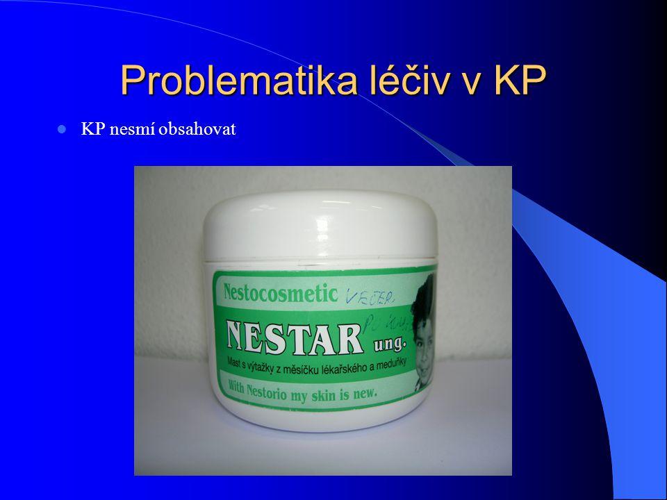 Problematika léčiv v KP KP nesmí obsahovat