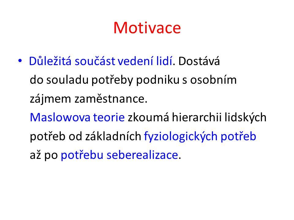 Motivace Důležitá součást vedení lidí.