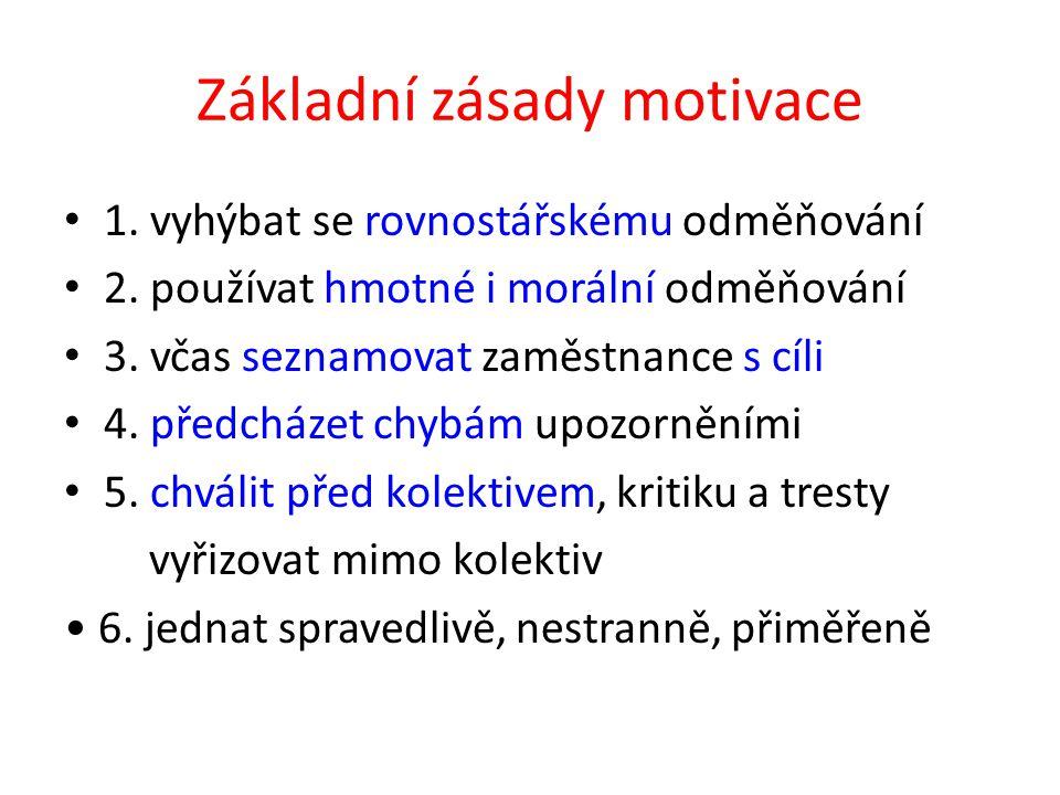 Základní zásady motivace 1. vyhýbat se rovnostářskému odměňování 2.