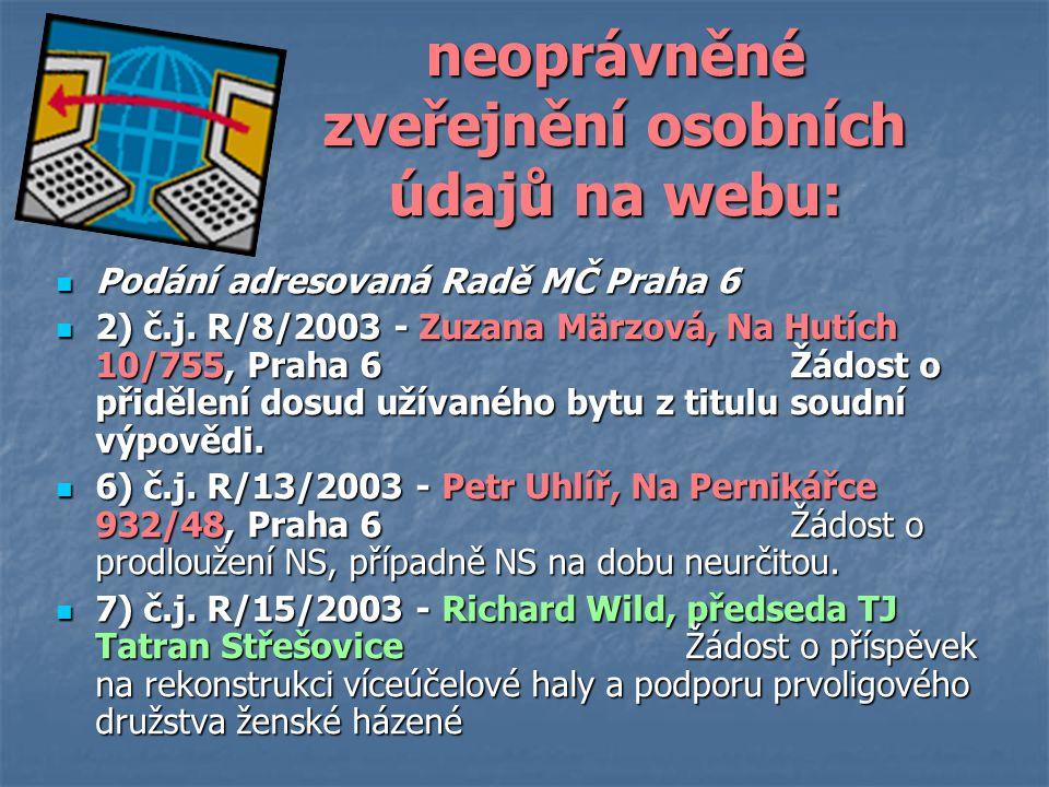 neoprávněné zveřejnění osobních údajů na webu: Podání adresovaná Radě MČ Praha 6 Podání adresovaná Radě MČ Praha 6 2) č.j.