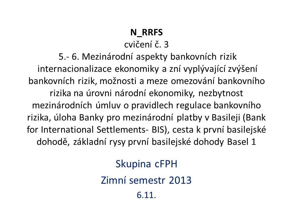 Kapitálová přiměřenost Kapitálový požadavek A je požadavek k úvěrovému riziku bankovního portfolia Kapitálový požadavek B je požadavek k tržnímu riziku a je roven součtu kapitálových požadavků k: – úvěrovému riziku obchodního portfolia – riziku angažovanosti obchodního portfolia – obecnému úrokovému riziku – obecnému akciovému riziku – měnovému riziku – komoditnímu riziku