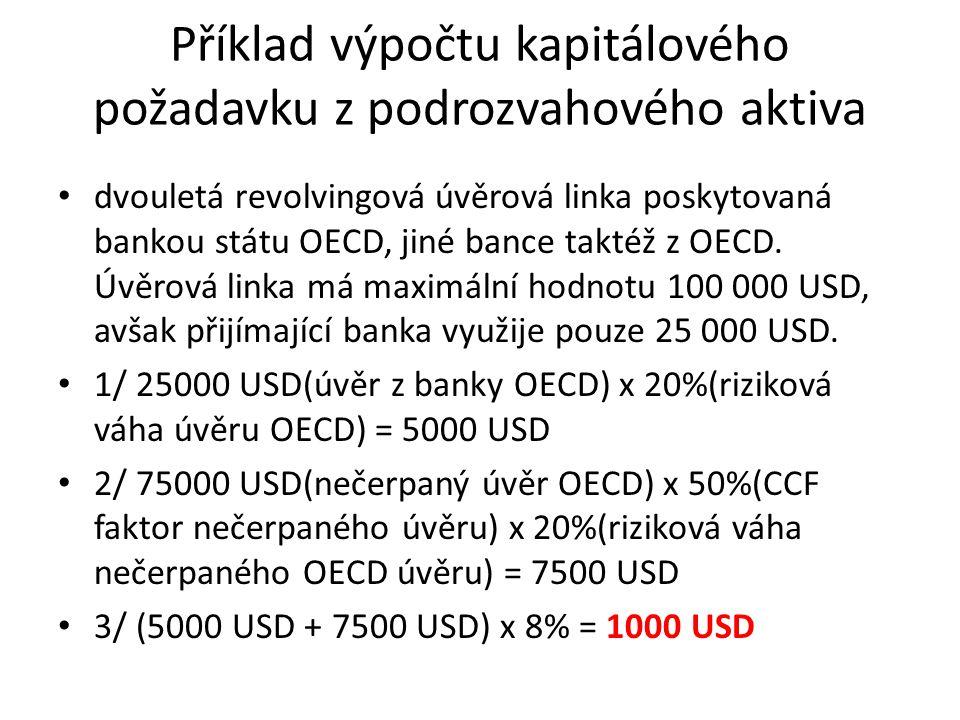 Příklad výpočtu kapitálového požadavku z podrozvahového aktiva dvouletá revolvingová úvěrová linka poskytovaná bankou státu OECD, jiné bance taktéž z