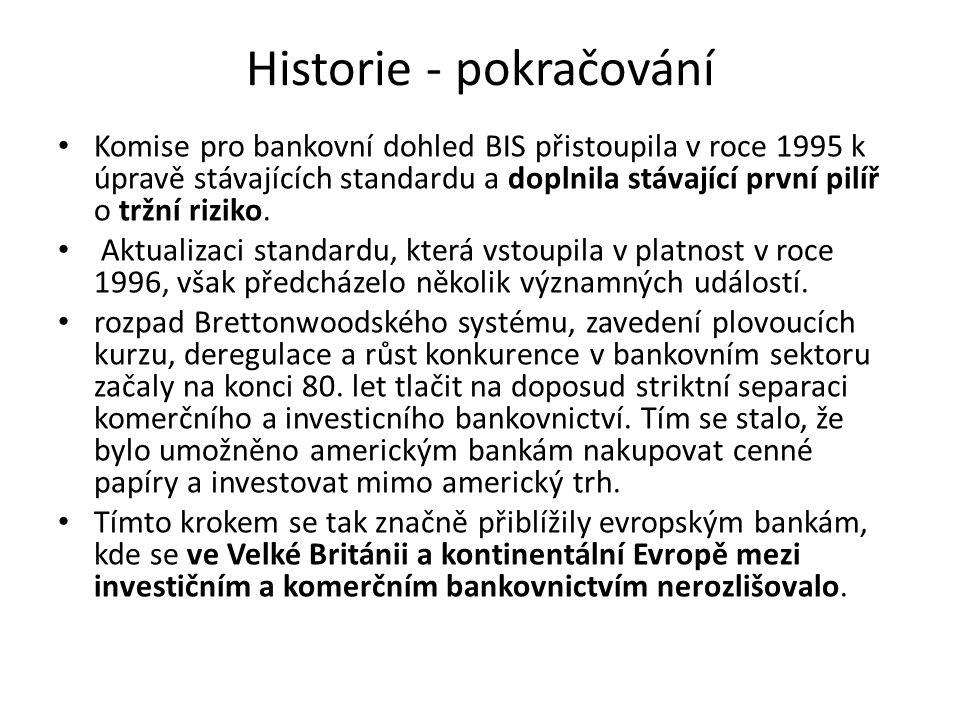 Historie - pokračování Komise pro bankovní dohled BIS přistoupila v roce 1995 k úpravě stávajících standardu a doplnila stávající první pilíř o tržní