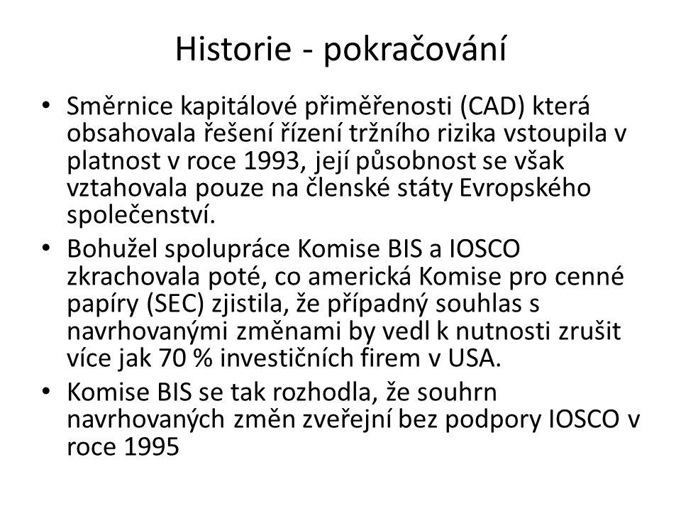 Historie - pokračování Směrnice kapitálové přiměřenosti (CAD) která obsahovala řešení řízení tržního rizika vstoupila v platnost v roce 1993, její půs