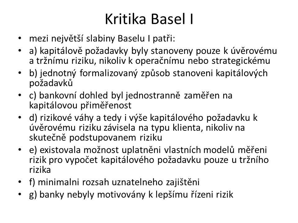 Kritika Basel I mezi největší slabiny Baselu I patři: a) kapitálově požadavky byly stanoveny pouze k úvěrovému a tržnímu riziku, nikoliv k operačnímu