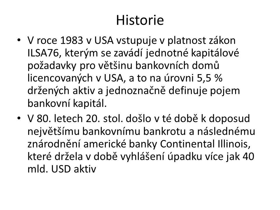 Historie V roce 1983 v USA vstupuje v platnost zákon ILSA76, kterým se zavádí jednotné kapitálové požadavky pro většinu bankovních domů licencovaných