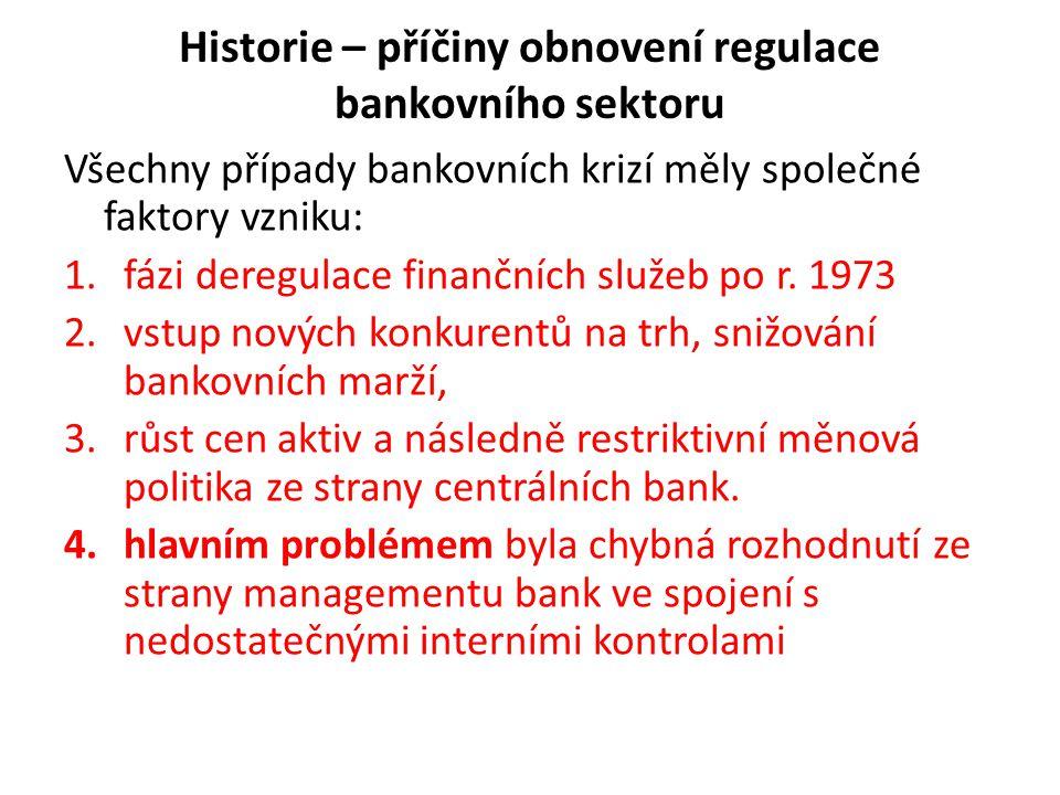 Historie – příčiny obnovení regulace bankovního sektoru Všechny případy bankovních krizí měly společné faktory vzniku: 1.fázi deregulace finančních sl