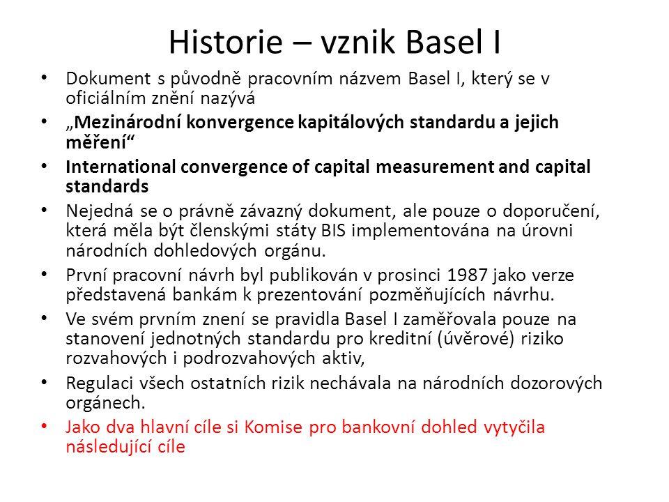 """Historie – vznik Basel I Dokument s původně pracovním názvem Basel I, který se v oficiálním znění nazývá """"Mezinárodní konvergence kapitálových standar"""