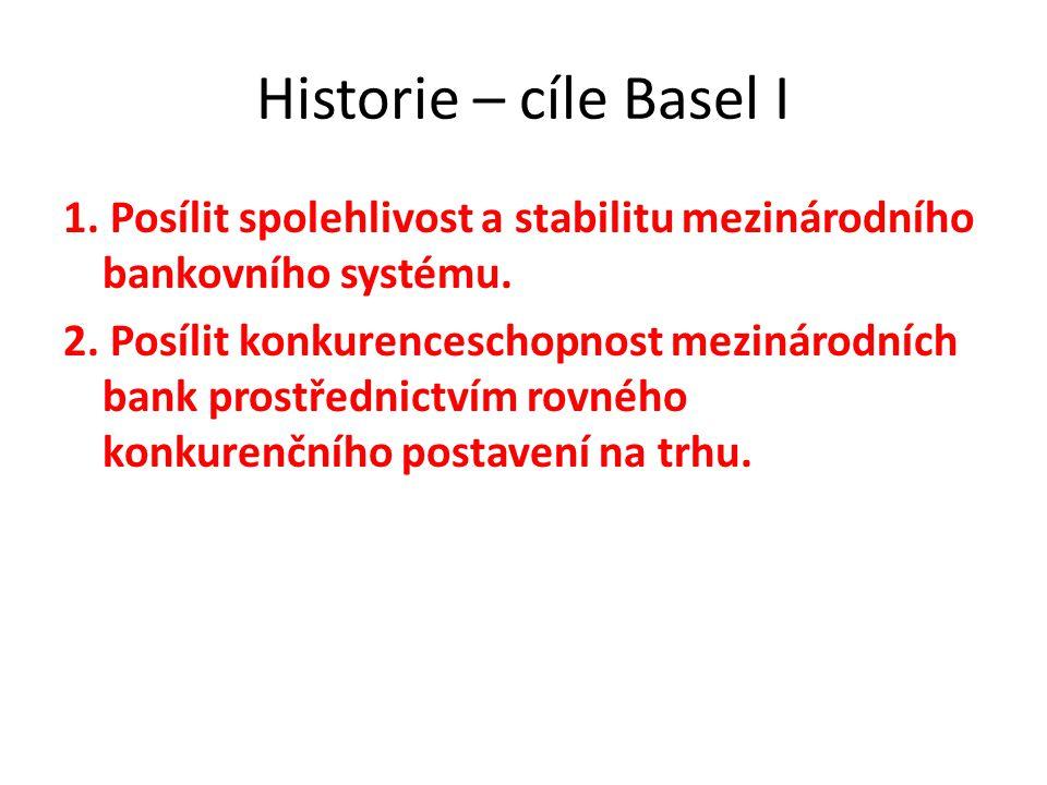 Historie – cíle Basel I 1. Posílit spolehlivost a stabilitu mezinárodního bankovního systému. 2. Posílit konkurenceschopnost mezinárodních bank prostř
