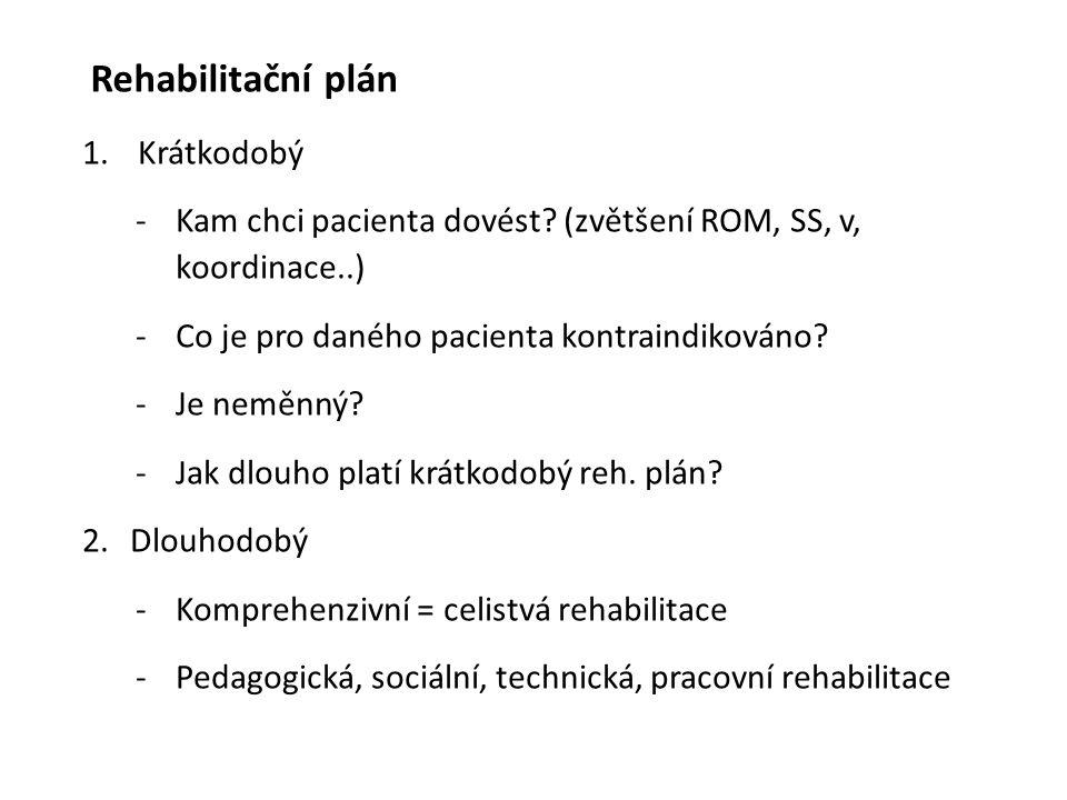 Rehabilitační plán 1. Krátkodobý -Kam chci pacienta dovést? (zvětšení ROM, SS, v, koordinace..) -Co je pro daného pacienta kontraindikováno? -Je neměn