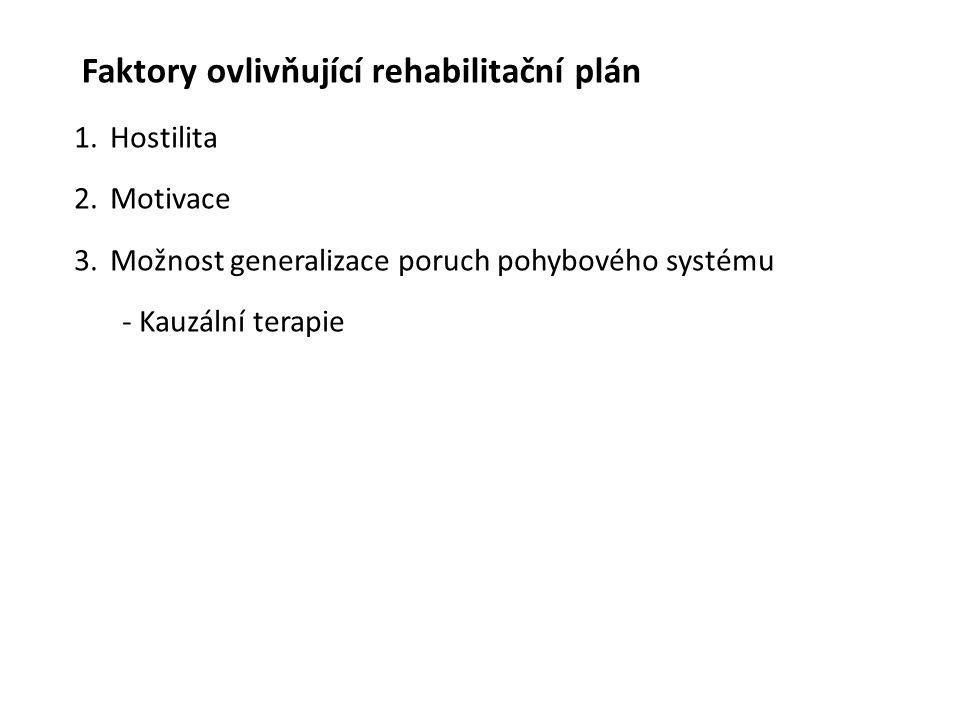Faktory ovlivňující rehabilitační plán 1.Hostilita 2.Motivace 3.Možnost generalizace poruch pohybového systému - Kauzální terapie