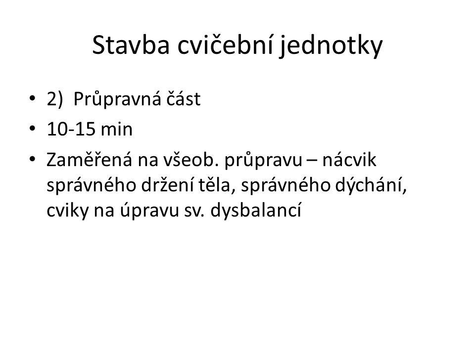 Stavba cvičební jednotky 2) Průpravná část 10-15 min Zaměřená na všeob.