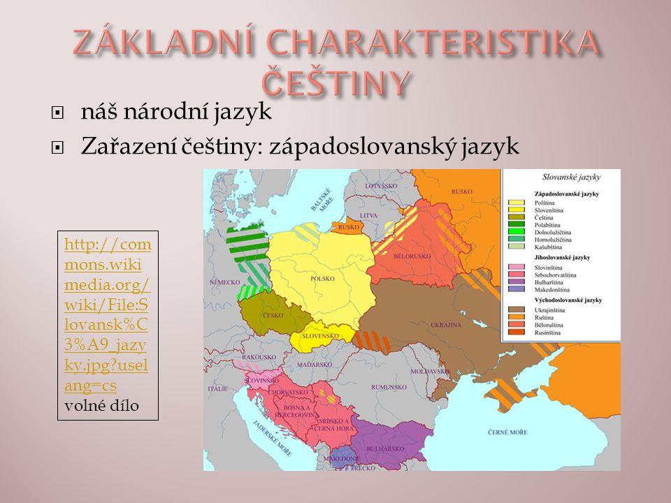  náš národní jazyk  Zařazení češtiny: západoslovanský jazyk http://com mons.wiki media.org/ wiki/File:S lovansk%C 3%A9_jazy ky.jpg?usel ang=cs http: