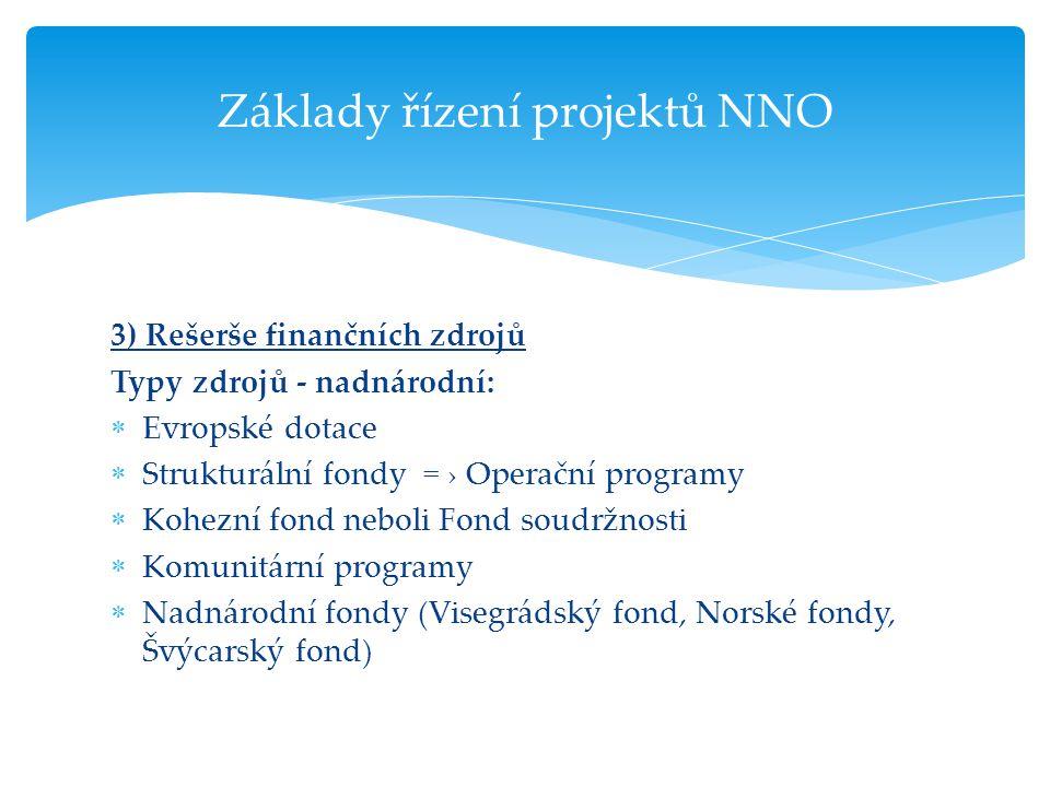 3) Rešerše finančních zdrojů Typy zdrojů - nadnárodní:  Evropské dotace  Strukturální fondy = › Operační programy  Kohezní fond neboli Fond soudržn