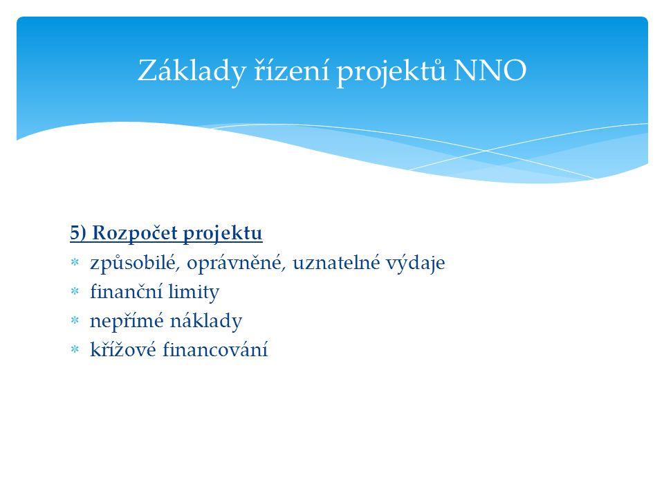 5) Rozpočet projektu  způsobilé, oprávněné, uznatelné výdaje  finanční limity  nepřímé náklady  křížové financování Základy řízení projektů NNO