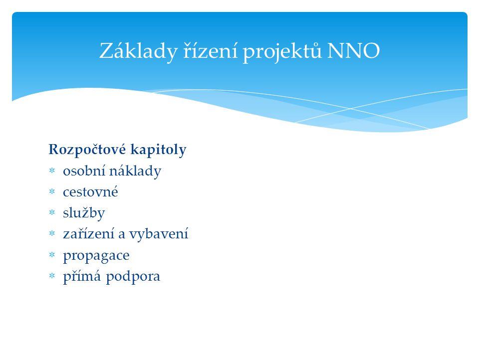 Rozpočtové kapitoly  osobní náklady  cestovné  služby  zařízení a vybavení  propagace  přímá podpora Základy řízení projektů NNO