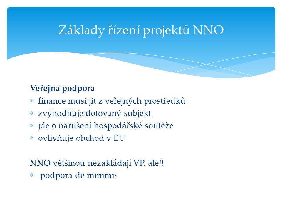 Veřejná podpora  finance musí jít z veřejných prostředků  zvýhodňuje dotovaný subjekt  jde o narušení hospodářské soutěže  ovlivňuje obchod v EU N