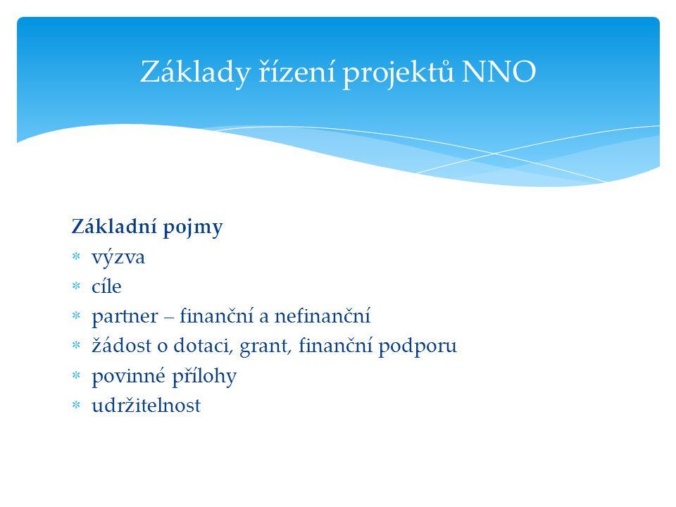 Základní pojmy  výzva  cíle  partner – finanční a nefinanční  žádost o dotaci, grant, finanční podporu  povinné přílohy  udržitelnost Základy ří
