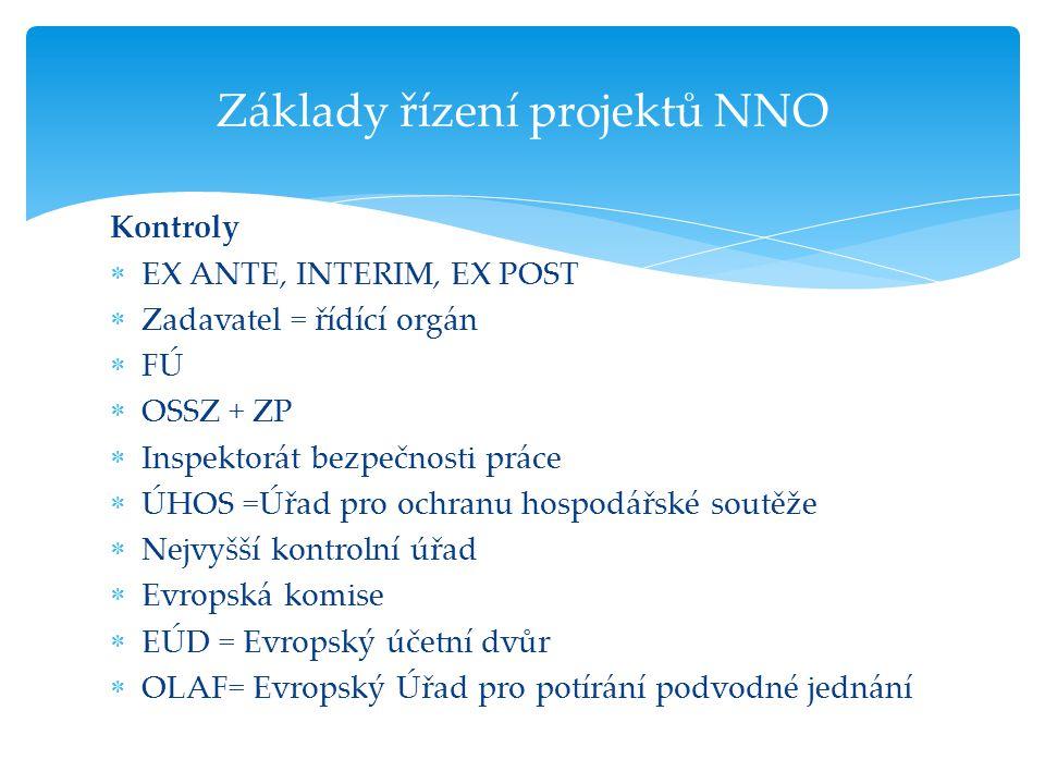 Kontroly  EX ANTE, INTERIM, EX POST  Zadavatel = řídící orgán  FÚ  OSSZ + ZP  Inspektorát bezpečnosti práce  ÚHOS =Úřad pro ochranu hospodářské