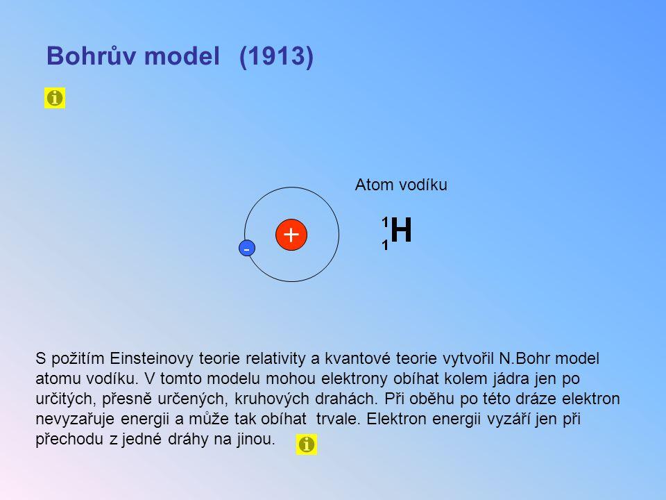 Bohrův model (1913) S požitím Einsteinovy teorie relativity a kvantové teorie vytvořil N.Bohr model atomu vodíku. V tomto modelu mohou elektrony obíha