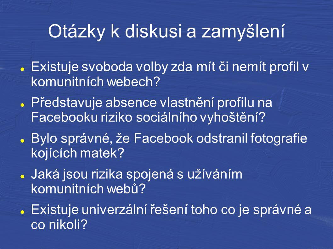 Otázky k diskusi a zamyšlení Existuje svoboda volby zda mít či nemít profil v komunitních webech? Představuje absence vlastnění profilu na Facebooku r
