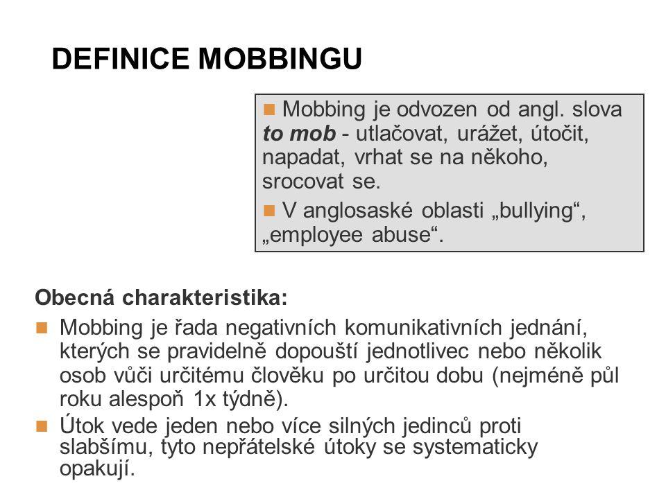 DEFINICE MOBBINGU Obecná charakteristika: Mobbing je řada negativních komunikativních jednání, kterých se pravidelně dopouští jednotlivec nebo několik