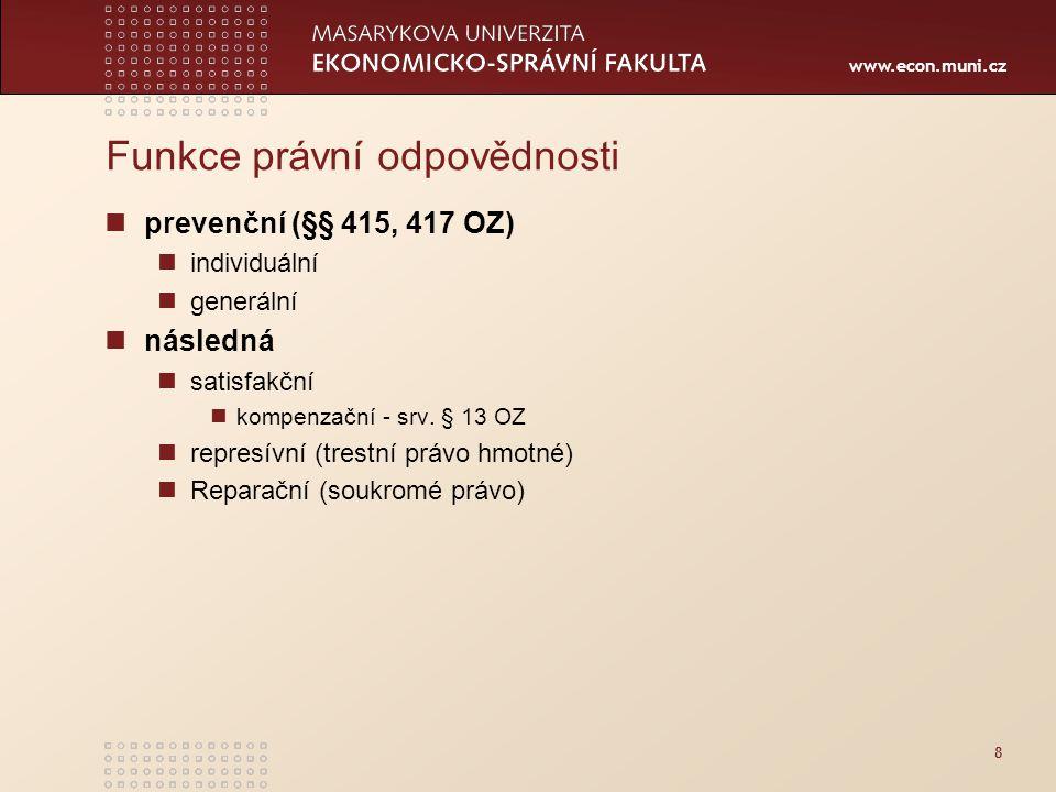 www.econ.muni.cz Funkce právní odpovědnosti prevenční (§§ 415, 417 OZ) individuální generální následná satisfakční kompenzační - srv. § 13 OZ represív