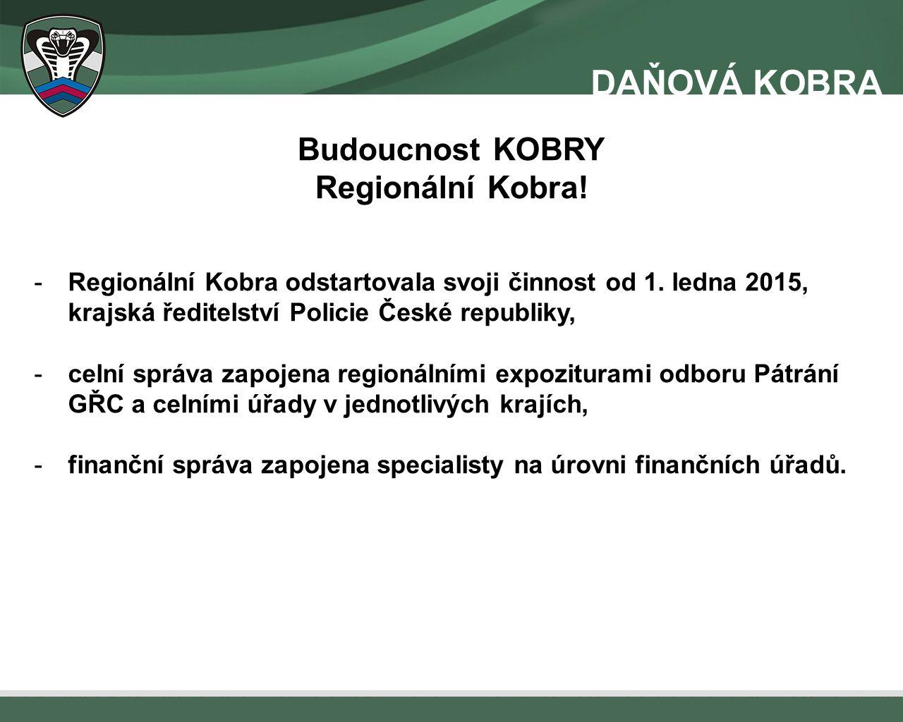 Budoucnost KOBRY Regionální Kobra! -Regionální Kobra odstartovala svoji činnost od 1. ledna 2015, krajská ředitelství Policie České republiky, -celní