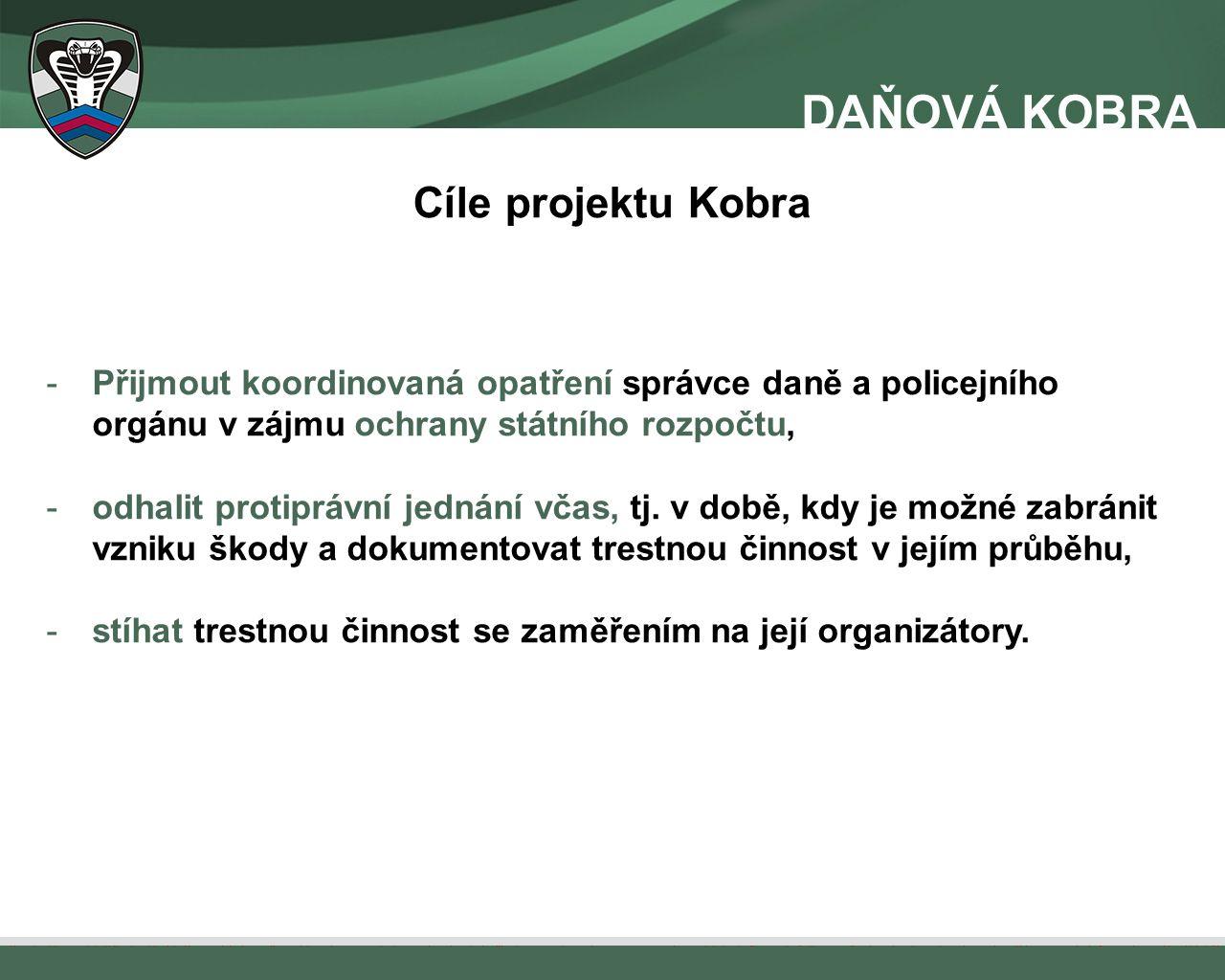 Cíle projektu Kobra -Přijmout koordinovaná opatření správce daně a policejního orgánu v zájmu ochrany státního rozpočtu, -odhalit protiprávní jednání včas, tj.