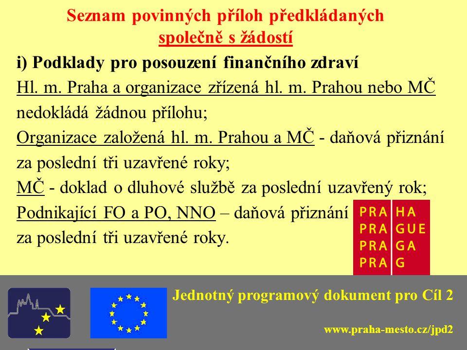 Jednotný programový dokument pro Cíl 2 Seznam povinných příloh předkládaných společně s žádostí i) Podklady pro posouzení finančního zdraví Hl.