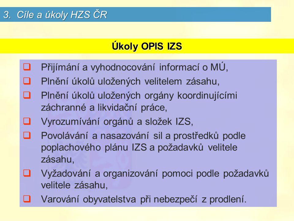 Úkoly OPIS IZS  Přijímání a vyhodnocování informací o MÚ,  Plnění úkolů uložených velitelem zásahu,  Plnění úkolů uložených orgány koordinujícími záchranné a likvidační práce,  Vyrozumívání orgánů a složek IZS,  Povolávání a nasazování sil a prostředků podle poplachového plánu IZS a požadavků velitele zásahu,  Vyžadování a organizování pomoci podle požadavků velitele zásahu,  Varování obyvatelstva při nebezpečí z prodlení.
