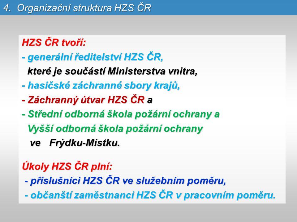 HZS ČR tvoří: - generální ředitelství HZS ČR, které je součástí Ministerstva vnitra, které je součástí Ministerstva vnitra, - hasičské záchranné sbory