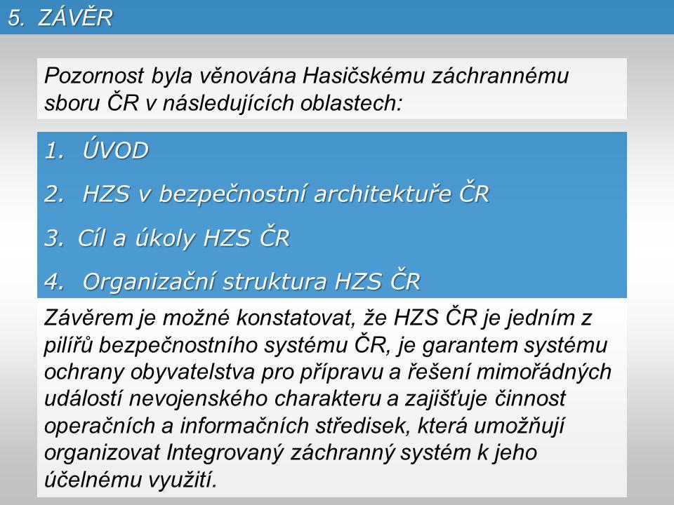 5.ZÁVĚR 1. ÚVOD 2. HZS v bezpečnostní architektuře ČR 3.Cíl a úkoly HZS ČR 4.