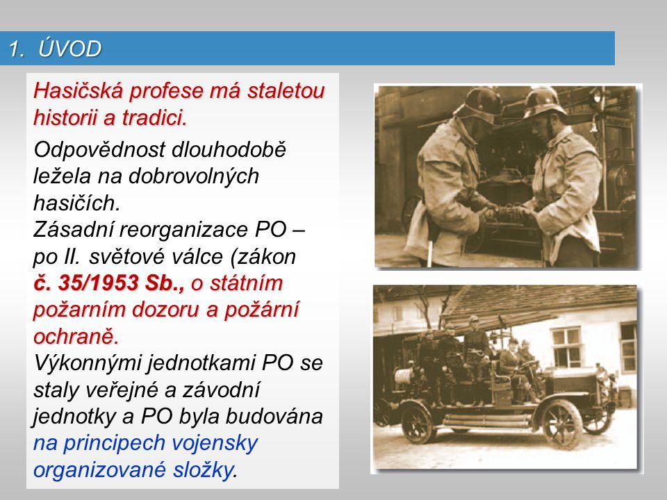 1. ÚVOD Hasičská profese má staletou historii a tradici. Odpovědnost dlouhodobě ležela na dobrovolných hasičích. Zásadní reorganizace PO – po II. svět