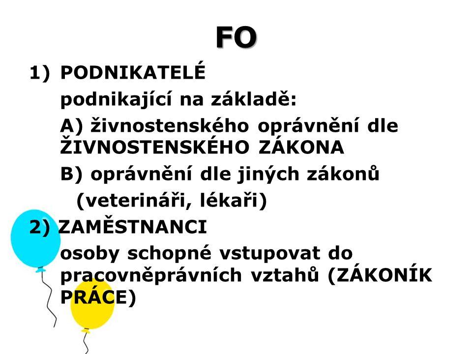 FO 1)PODNIKATELÉ podnikající na základě: A) živnostenského oprávnění dle ŽIVNOSTENSKÉHO ZÁKONA B) oprávnění dle jiných zákonů (veterináři, lékaři) 2)